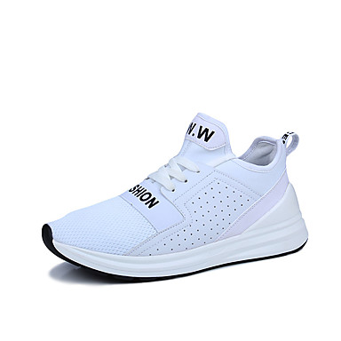 Men's Shoes PU Fabric Spring Fall Comfort Athletic Shoes Basketball Shoes Lace-up Athletic Casual Outdoor White Black Red