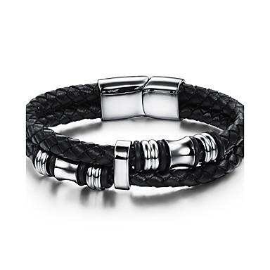 voordelige Herensieraden-Bangles geweven Natuur Modieus Imitatieleer Armband sieraden Zwart Voor Feest Verjaardag Feest / Uitgaan Lahja Avond Feest / Roestvast staal