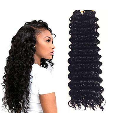 お買い得  ヘアエクステンション-ブレイズヘア カール かぎ針編み ディープツイスト ツイスト三つ編み 人毛エクステンション 合成 1個 / パック 髪の三つ編み 日常 / 1パックには2個入っています.通常5〜6パックで十分です.