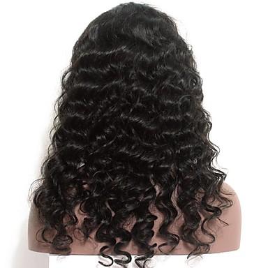 Φυσικά μαλλιά Δαντέλα Μπροστά Περούκα στυλ Ινδική Χαλαρό Κυματιστό Περούκα 120% Πυκνότητα μαλλιών με τα μαλλιά μωρών Φυσική γραμμή των μαλλιών Προ-απογυμνωμένο Λευκανθέντες κόμπους Γυναικεία