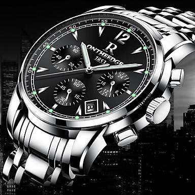 levne Pánské-Pánské Náramkové hodinky zlaté hodinky Letecké hodinky japonština Šestičlenná šesticípá Nerez Černá / Stříbro / Zlatá 30 m Voděodolné Kalendář kreativita Analogové Přívěšky Luxus Klasické Na běžn
