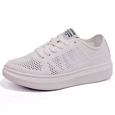 Mujer Zapatos Tela / PU Primavera verano Confort Zapatillas de deporte Paseo Tacón Plano Dedo redondo Blanco / Negro / Negro / blanco j6Iwi1