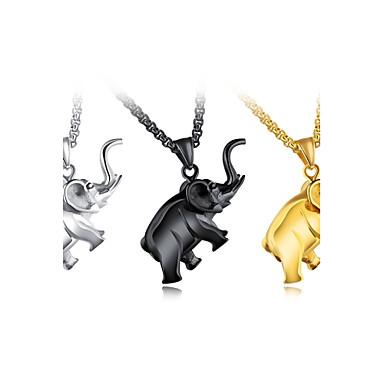 levne Pánské šperky-Pánské Náhrdelníky s přívěšky Foxtail řetězec Slon Zvíře Přizpůsobeno Klasické Módní Hip-hop Titanová ocel Kov Zlatá Černá Stříbrná Náhrdelníky Šperky Pro Párty Novorozeně Dar Street Klub