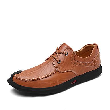 Hombre Zapatos Cuero Primavera / Otoño Confort Zapatillas de deporte Negro / Caqui dKNs0QX
