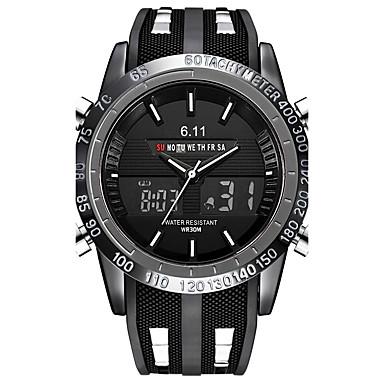 levne Pánské-Pánské Hodinky na běžné nošení Sportovní hodinky Vojenské hodinky japonština Křemenný Silikon Černá 30 m Voděodolné Kalendář Chronograf Analogové Luxus Vintage Na běžné nošení Cikánské Skládaný -