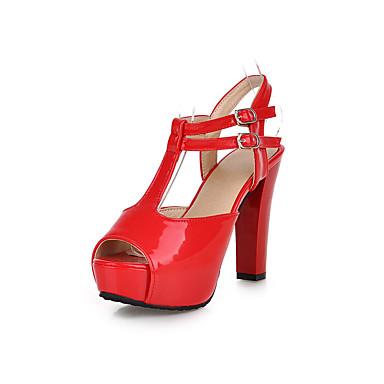 Mujer Zapatos Semicuero Verano Talón Descubierto Sandalias Tacón Cuadrado Punta abierta Blanco / Negro / Rojo / Boda / Fiesta y Noche eshkF