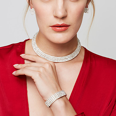 cheap Jewelry Sets-Women's Jewelry Set Choker Necklace Necklace Layered Ladies Luxury Elegant Fashion Bridal Multi Layer Rhinestone Earrings Jewelry Silver For Wedding Party Anniversary Daily Casual Masquerade
