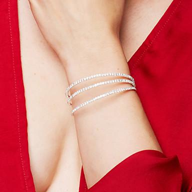 Dam Syntetisk Diamant Armringar Tennis Armband Multi lager damer Elegant Brudkläder Multi lager Kristall Armband Smycken Silver Till Julklappar Bröllop Party Dagligen Casual / Zircon / Bergkristall