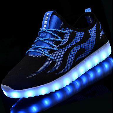 levne Dámské tenisky-Unisex Tenisky LED boty Nízký podpatek Oblá špička LED Síť / Tyl Svítící boty Podzim / Zima Černobílá / Modrá a černá / EU41