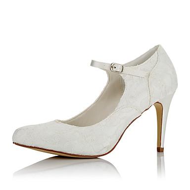 Mujer Zapatos Encaje / Satén Otoño / Invierno Pump Básico Tacones Tacón Stiletto Dedo Puntiagudo Marfil / Boda / Fiesta y Noche iFoNLJB