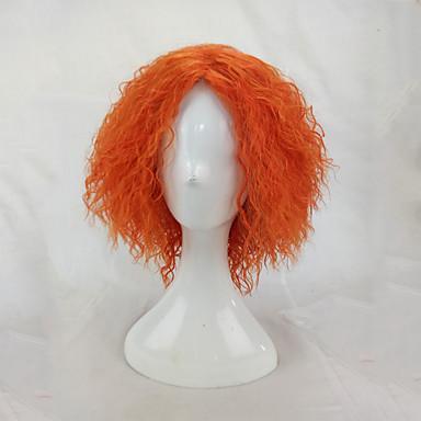 billige Kostymeparykk-Syntetiske parykker Kostymeparykker Afro Kinky Curly Stil Parykk Blond Kort Oransje Syntetisk hår Dame Blond Parykk hairjoy