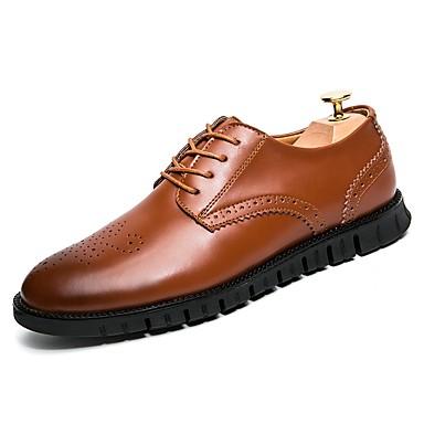Hombre Zapatos PU Primavera / Otoño Confort Oxfords Negro / Morrón Oscuro YzrvEIn4