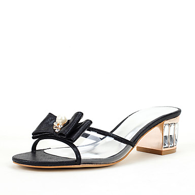 Mujer Zapatos PU Verano Anillo Frontal Sandalias Tacón Cuadrado Dedo cuadrada Blanco / Negro / Verde TuAZlVRd