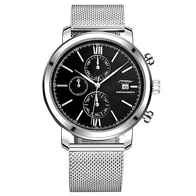 levne Pánské-SINOBI Pánské Sportovní hodinky Náramkové hodinky japonština Křemenný Kov Stříbro 30 m Voděodolné Kalendář Odolný vůči nárazu Analogové Přívěšky Luxus Třpyt Klasické Módní - Bílá Černá Dva roky