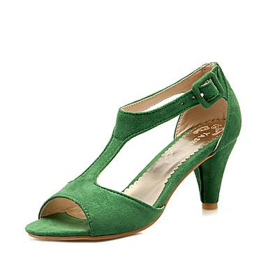 levne Dámské sandály-Dámské Sandály Kónický S otevřeným palcem Duté Koženka Společenské boty Léto Zelená / Růžová / Burgundská fialová / Party / Party