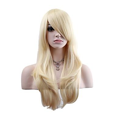 billige Kostymeparykk-Syntetiske parykker Kostymeparykker Naturlige bølger Stil Parykk Blond Lang Lys Gylden Syntetisk hår Dame Blond Parykk OUOHAIR