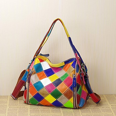 cheap Handbag & Totes-Women's Bags Cowhide Tote Plaid Split Joint for Event / Party / Outdoor / Office & Career Rainbow
