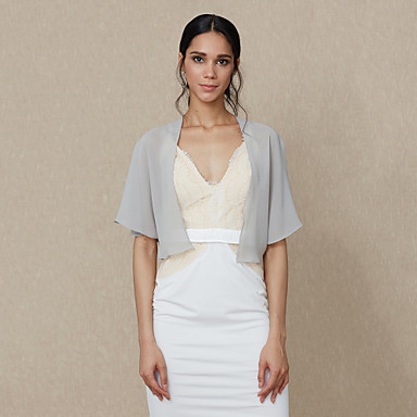 cheap Party Accessories-Shrugs Chiffon Wedding / Party / Evening Women's Wrap / Bolero With Draping / Solid