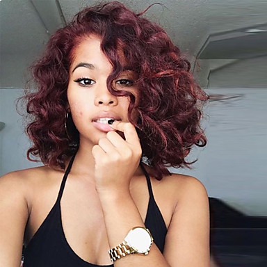 91 99 Two Tone Wine Red Ombre Wigs For Black Women Capless Human Hair Wig Medium Length Kinky Curly Wigs