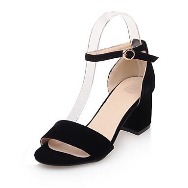 Mujer Zapatos PU Verano Pump Básico Sandalias Tacón Cuadrado Puntera abierta Hebilla Blanco / Negro / Plateado / Fiesta y Noche FD6OYL5an