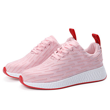 Women's Shoes Fabric Winter Fall Comfort Athletic Shoes Running Shoes Low Heel Lace-up Athletic Casual Outdoor White Black Pink