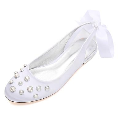 Mujer Zapatos Satén Primavera / Verano Confort Zapatos de boda Tacón Plano Dedo redondo Perla de Imitación Azul / Champaña / Marfil vVEiCH