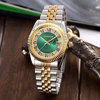 levne Pánské-Pánské Dámské Luxusní hodinky Náramkové hodinky Vykládané hodinky japonština Křemenný Nerez Stříbro / Zlatá Voděodolné Kalendář kreativita Analogové Přívěšky Luxus Třpyt Klasické Na běžné nošení -
