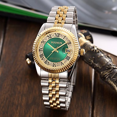 povoljno Ženski satovi-Muškarci Žene Luxury Watches Narukvica Pogledajte Ručni satovi s mehanizmom za navijanje Japanski Kvarc Nehrđajući čelik Srebro / Zlatna Vodootpornost Kalendar Kreativan Analog Šarm Luksuz