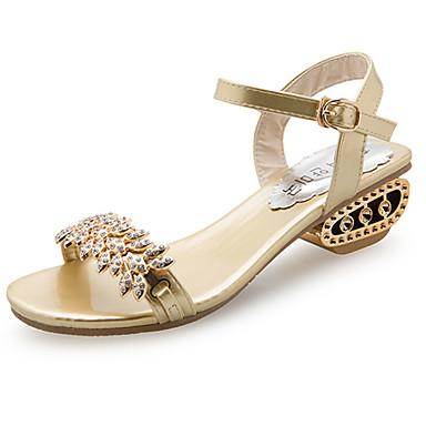 levne Dámské sandály-Dámské Sandály Nízký podpatek Otevřený palec Štras PU Pohodlné Chůze Léto Zlatá / Černá / Stříbrná / EU41