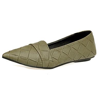 Mujer Zapatos PU Verano Confort Bailarinas Tacón Plano Dedo Puntiagudo Negro Y4PB0qkWh