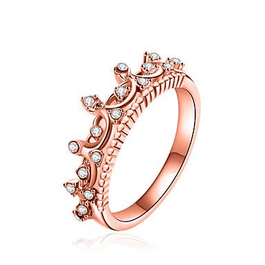 billige Fuskediamant-Dame Band Ring Princess Crown Ring Syntetisk Diamant Gull Sølv Zirkonium Legering Geometrisk Form damer Luksus Geometrisk Jul Fest Smykker geometriske Krone