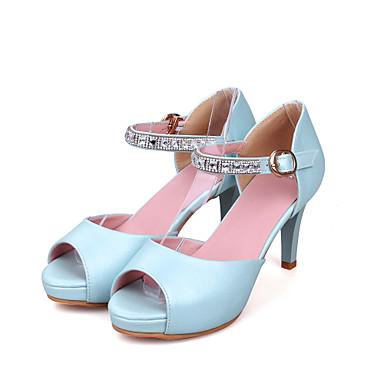 Mujer Zapatos Piel de Oveja Verano Confort Sandalias Tacón Plano Rosa / Azul Claro HQssC