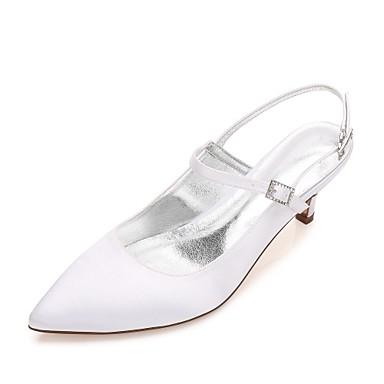f6ae26eb0cac Women s Satin Spring   Summer Comfort   Basic Pump   Ankle Strap Wedding Shoes  Kitten Heel   Cone Heel   Low Heel Pointed Toe Rhinestone   Sparkling  Glitter ...