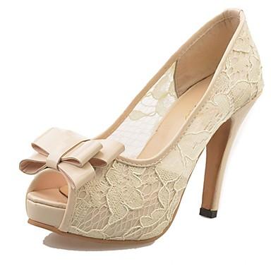Mujer Zapatos PU Verano Pump Básico Tacones Tacón Cuadrado Punta abierta Pajarita Blanco / Beige / Rosa LmBsw