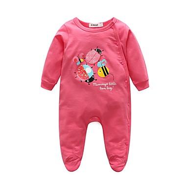 povoljno Odjeća za bebe-Dijete Djevojčice Životinjski uzorak Životinja Dugih rukava Pamuk Kombinezon Red