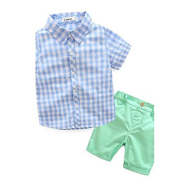 povoljno Odjeća za dječake-Dijete koje je tek prohodalo Dječaci Karirani uzorak Other Kratkih rukava Normalne dužine Pamuk Komplet odjeće Plava