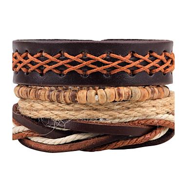 voordelige Herensieraden-Heren Dames Wikkelarmbanden Lederen armbanden Dromenvanger Gepersonaliseerde Rock Modieus Leder Armband sieraden Bruin Voor Dagelijks Causaal Toneel Straat Club