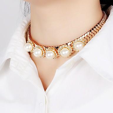 povoljno Modne ogrlice-Žene Sintetički dijamant Choker oglice Izjava Ogrlice Geometrijski Princeza Personalized Jedinstven dizajn Klasik Krom Obala Ogrlice Jewelry Za Božićni pokloni Vjenčanje Party Special Occasion