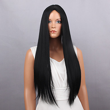 Synthetic Wig Straight Synthetic Hair Black Wig Women's Long Natural Wigs Capless
