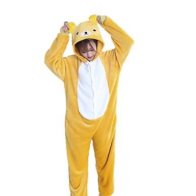 Adults  Cosplay Costume Kigurumi Pajamas Bear Onesie Pajamas Flannel Fabric  Yellow Cosplay For Men and Women Animal Sleepwear Cartoon Festival    Holiday ... 151bbcf8b