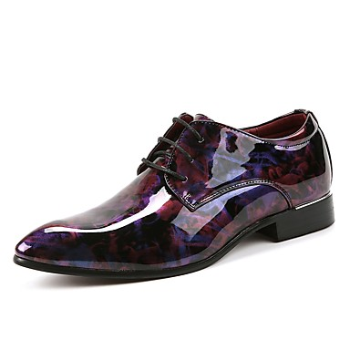 cheap Printed Shoes-Men's Printed Oxfords Leather Spring / Fall Wedding Shoes Purple / Blue / Party & Evening / Lace-up / Party & Evening