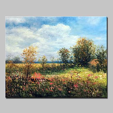 povoljno Ukrašavanje zidova-Hang oslikana uljanim bojama Ručno oslikana - Apstraktni pejsaži Sažetak Moderna Bez unutrašnje Frame
