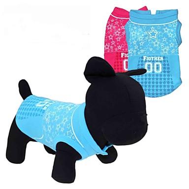 Katt Hund T-shirt Hundkläder Röd Blå Kostym Terylen Hjärta Stjärnor XS S M L