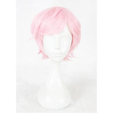 povoljno Perike i ekstenzije-Sintetičke perike / Perike za maškare Ravan kroj Kardashian Stil Capless Perika Pink Ružičasta Sintentička kosa Faux Locs Perika Pink Perika Kratko