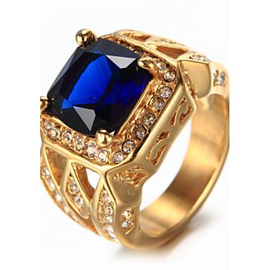 levne Pánské šperky-Pánské Pečetní prsten Safír Bílá Červená Modrá Štras Titanová ocel Luxus Vintage Módní Svatební Narozeniny Šperky Solitaire Emerald Cut