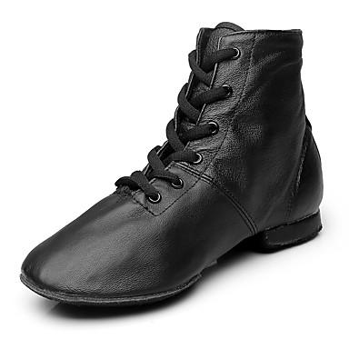preiswerte Tanzschuhe-Damen Tanzschuhe Leder / Leinwand Jazztanzschuhe Stiefel Flacher Absatz Maßfertigung Schwarz / Leistung / EU43
