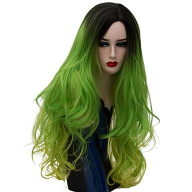 billige Kostymeparykk-Syntetiske parykker Naturlige bølger Stil Lokkløs Parykk Grønn Syntetisk hår Dame Ombre-hår Grønn Parykk Lang