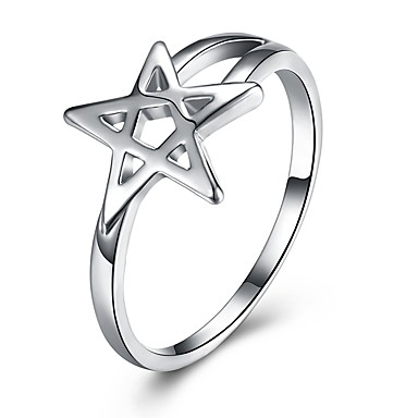 billige Engasjement-Dame Band Ring Sølv Sølv damer Luksus Klassisk Bryllup Fest Smykker Stjerne Kjærlighed Pentagram gram~~POS=HEADCOMP