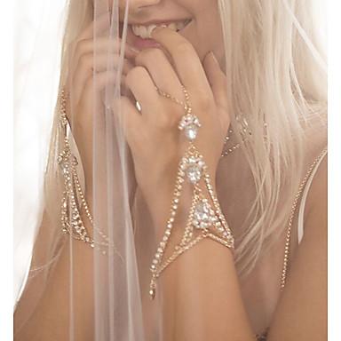 povoljno Modne narukvice-Žene Narukvice kolutovi Ispustiti Robovi zlata dame Personalized Boemski stil Moda Bling Bling Umjetno drago kamenje Narukvica Nakit Zlato / Srebro Za Vjenčanje Dar Dnevno Ulica