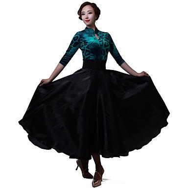 ce5f1c68733 [$89.99] Λάτιν Χοροί Φορέματα Γυναικεία Επίδοση Σιφόν / Τούλι / Βελούδο  Σιφόν 3/4 Μήκος ...